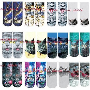 SP&CITY Cool Fashion Art Socks 3D Cotton Cats With Print Funny Socks Women Cartoon Animal Socks Cotton Short Low Sock Slippers