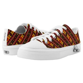 Southwest Design Bold Red Black Gold Printed Shoes