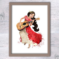 Elena Avalor watercolor poster Princess Elena Disney wall decor Latino princess Nursery room decor Kids room wall art Baby shower gift V221