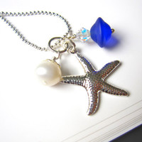 Royal Blue Sea Glass Starfish Necklace with fresh water pearl - Bridesmaids Necklace for Beach Wedding - Something Blue in Wedding