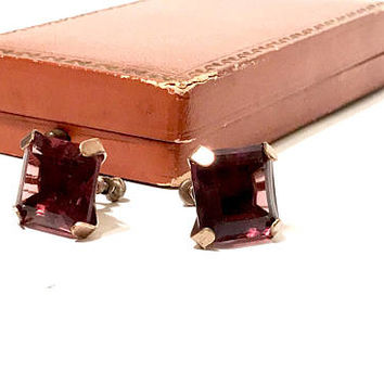 Square Amethyst Crystal Earrings, Vintage 1940s, Retro, Faceted Rhinestone, Srew Back Earrings, Rose Tone , Prong Set, Vintage Earrings