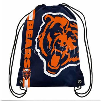 35*45 cm digital printing knitted polyester Chicago Bears drawstring backpack with rope Metal Grommets
