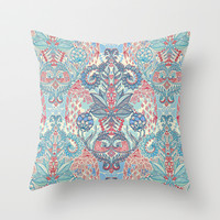 Botanical Geometry - nature pattern in red, blue & cream Throw Pillow by micklyn