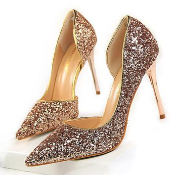 Women Pumps Bling Sexy High Heels Glitter Wedding Party Women Heels Shoes Female Gold Silver Bridal Shoes Stiletto 9.5CM