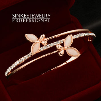 Rare Charm Opal Butterfly Bracelets For Women Bangle Cuff Sinkee 18K Rose Gold Plated Brand Jewelry SL202