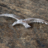 Vintage Bird Brooch Silver Seagull in Flight Made in Mexico Figural Mid Century 1940's // Vintage Mexico Silver Jewelry