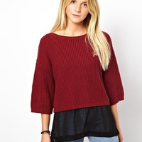 ASOS Cropped Sweater With Sheer Insert - Red $2