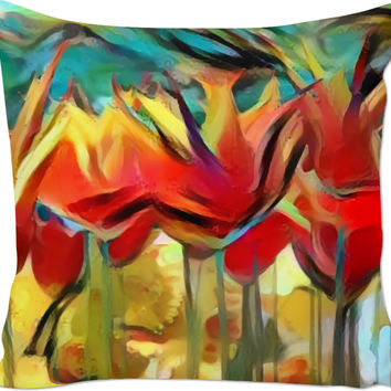 Abstract painted tulips pattern couch pillow, floral design, colorful throw pillows