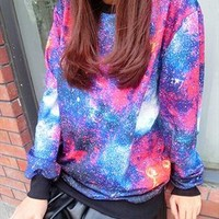 Colored Starry Sky Print Loose Sweatshirt    from OASAP-USA