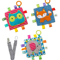 Mary Meyer Crinkle Me Elephant, Owl & Fox Squares with Pacifier Clip