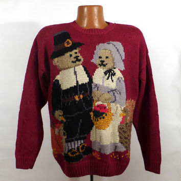 Ugly Christmas Sweater Vintage Tacky Holiday Party Thanksgiving Pilgrim Bears Women's size M