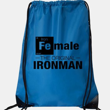 "Drawstring Gym Bag  ""Female - The Original Ironman""  Funny Workout Squatting Gift"