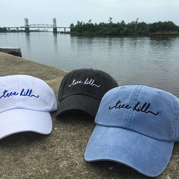 One Tree Hill Handwriting Script Baseball Caps - Tree Hill, North Carolina Baseball Hat