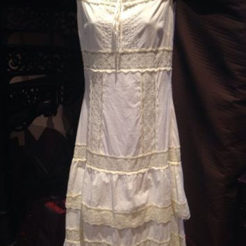 Vintage Style Free People White Cotton Peasant Dress