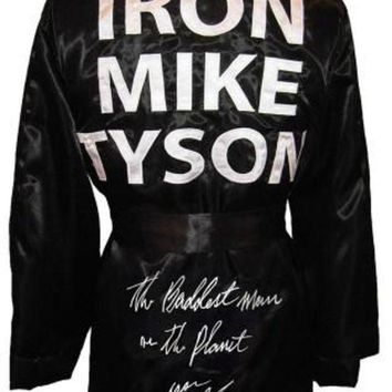 ICIKJNG Mike Tyson Signed Autographed 'The Baddest Man On The Planet' Iron Mike Tyson Boxing Robe (ASI COA)