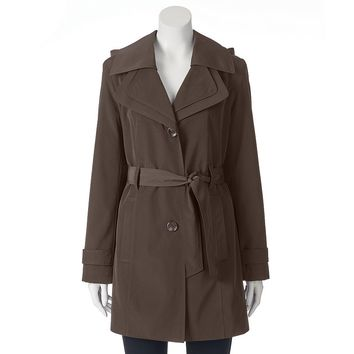 Towne by London Fog Hooded Trench Raincoat - Women's, Size: