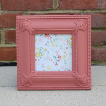 Coral 5 x 5 square picture frame - Painted picture frame, upcycled frame, beach chic decor