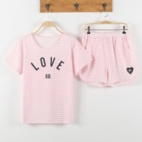 Summer Pajamas Sets Women Striped 100% Cotton Cartoon Fashion Women Short Sleeve Sleepwear Suit 2 piece Sexy Home Lounge Gift