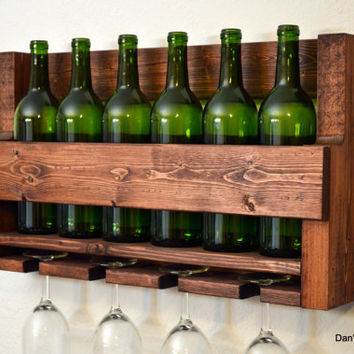 Rustic Wine Rack 6 Bottle 4 Glass Holder Wall Bar Liquor Cabinet Red Finished Wood