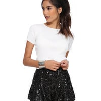 Black Sequined Pleated Shorts