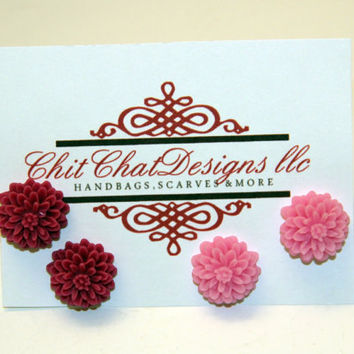 Flower Post Earrings Chrysanthemum Cabochon by chitchatdesignsllc