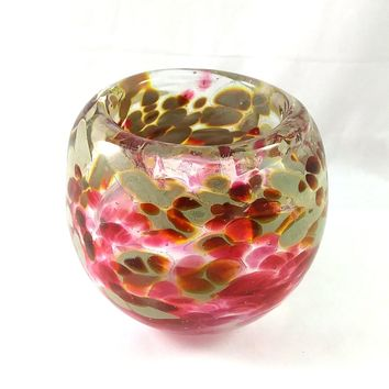 Handmade Art Glass Candle Holder, Red and Tan, Mother's Day Gift