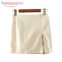 (11.26 Special Offer) Aelegantmis Wool Mini Pencil Skirt Women With Zipper Spring New Solid Ladies Package Hip Slim Casual Skirt