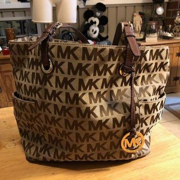 VLXZLP1 Michael Kors Jet Set Brown Canvas MK Signature Tote Handbag Luggage Purse