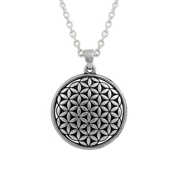 Flower Of Life Round Charm With Link Chain Necklace Fashion Jewelry