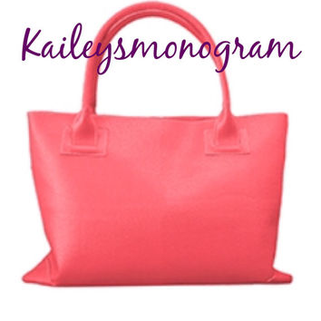Monogrammed Handbag Coral Charleston Bag Personalized Tote Bride Wedding Bridesmaid Preppy Kaileys Monogram