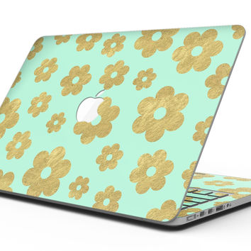 Mint and Gold Floral v8 - MacBook Pro with Retina Display Full-Coverage Skin Kit