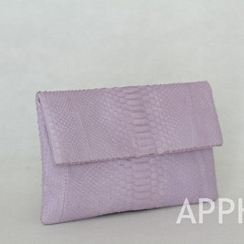 Elbulli Genuine Exotic Python Clutch in African Violet Color
