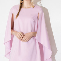 Pink A-line Cape Dovetail Mini Dress