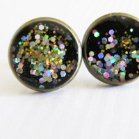 Starry Night Stud Earrings, Black Stud Earrings, Gift for Her