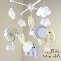"Baby Mobile - Baby Crib Mobile - Hot Air Balloons and Elephants Clouds Mobile ""Up in the Air"" (You Can Pick your Colors and Animals)"