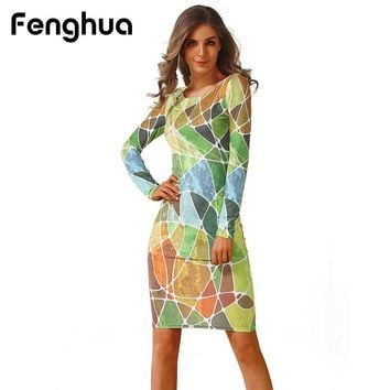 Fenghua Women's Fashion Vintage Floral Long Sleeves Trendy Spring Summer Party Dress