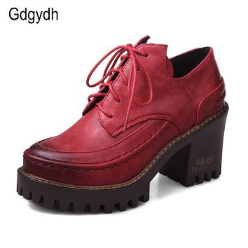 Gdgydh Spring British Style Female Single Shoes Round Toe Platform Casual Women Shoes Two-piece Lacing Large Size Shoes