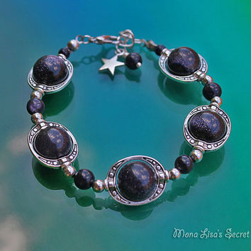 Blue Goldstone Galaxy Bracelet, Planet Bracelet, Dark Blue Bracelet, Celestial Jewelry, Blue Goldstone Jewelry, Mothers Day Gift