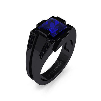 Mens Modern 14k Black Gold 2.0 Carat Princess Blue Sapphire Black Diamond Wedding Ring R1020M-14KBGBDBS