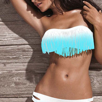 Tassel Gradient Color Sexy Bikini Swim Suit Beach Bathing Suits Tube Bra Top Banheau _ 1345