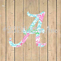 Alabama Lilly Pulitzer Inspired Decal - Roll Tide - Texas - Roll Tide - UGA - Gators - Clemson - NC State - Bulldogs - UF