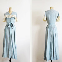 1940's Blue Polka Dot Maxi Dress // Medium Eyelet Ruffle Dress // Vintage Women's Clothing
