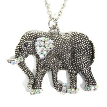 Crystal Elephant Necklace Safari Silver Tone Tribal NB25 Africa Pendant Fashion Jewelry