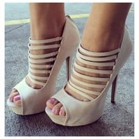 Strappy Open Toe Stiletto Heels - GoJane.com