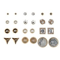 Howlite, Pearl & Rhinestone Stud Earrings -12 Pack