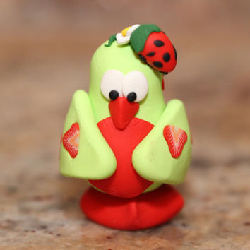 "Daisy the Penguin, ""Strawberry Margarita,"" polymer clay miniature animal, pocket totem, arctic bird figurine, small sculpture, green and red"