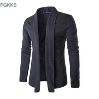 FGKKS 2017 Hot Sale Brand-Clothing Spring Cardigan Male Fashion Solid Color Slim Sweater Men Casual Mens Sweaters Free Shipping