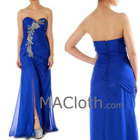 Mermaid Strapless Sweetheart Royal Blue Chiffon Prom Dress with Slit