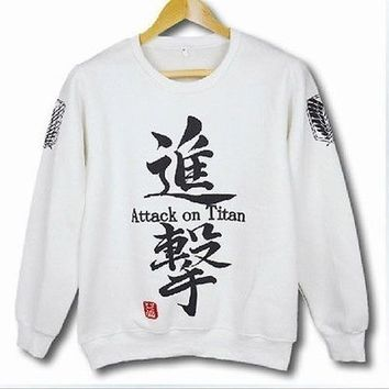 Attack On Titan Crew-Neck Sweater Hot Anime Clothing Hoodies Tops Black White