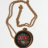 Cross Stitch Locket Gold Tone Pendant Chain Necklace - Vintage Avon - Romantic - Secret - Unusual